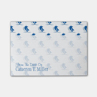 Yacht With Sails Pattern   Add Your Name Post-it Notes