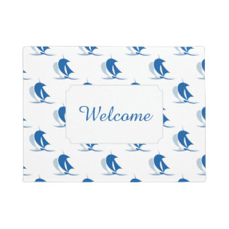 Yacht With Sails Pattern| Monogram Doormat