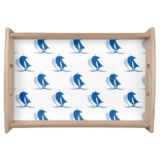 Yacht With Sails Pattern Serving Tray