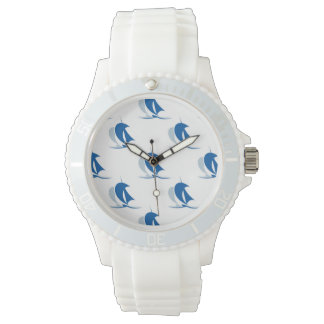 Yacht With Sails Pattern Wristwatch