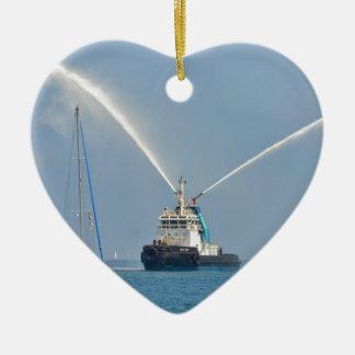 Yacht Zig Zag And Tug Ceramic Heart Decoration
