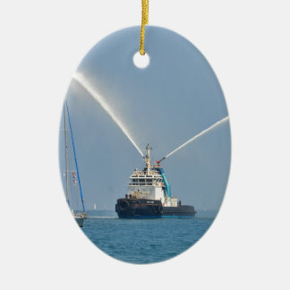 Yacht Zig Zag And Tug Christmas Ornament