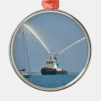 Yacht Zig Zag And Tug Silver-Colored Round Decoration