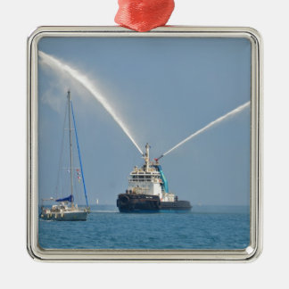 Yacht Zig Zag And Tug Silver-Colored Square Decoration
