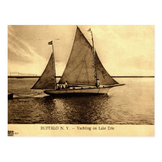 Yachting on Lake Erie, Buffalo NY 1909 vintage Postcard