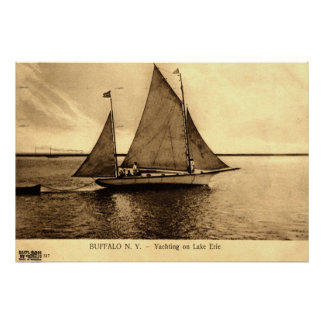 Yachting on Lake Erie, Buffalo NY 1909 vintage Poster