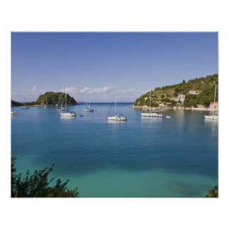 Yachts at anchor, Lakka, Paxos, Greece Poster