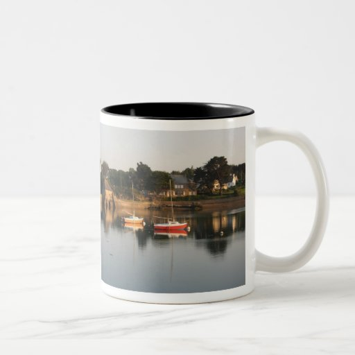 Yachts boats in the harbour at Saint Guirec France Coffee Mug