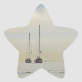 Yachts Heading Out At Dawn Star Sticker
