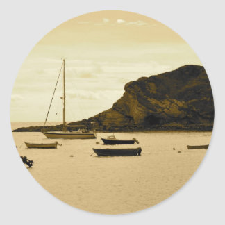 Yachts in a Bay Classic Round Sticker