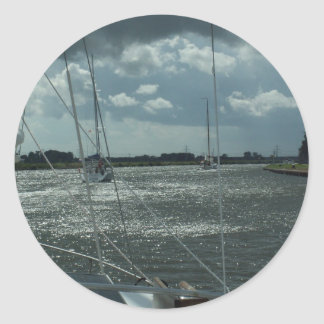 Yachts On The Dutch Canals Classic Round Sticker