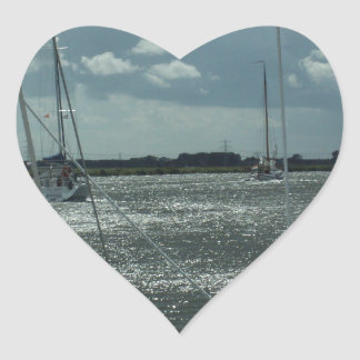 Yachts On The Dutch Canals Heart Sticker