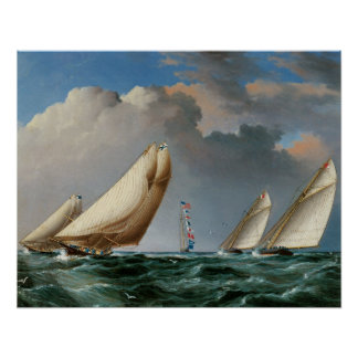 Yachts Rounding the Mark 1875 Poster
