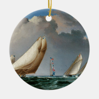 Yachts Rounding the Mark Double-Sided Ceramic Round Christmas Ornament