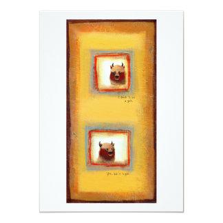 "Yak friends couple fun cute odd relationship art 5"" x 7"" invitation card"