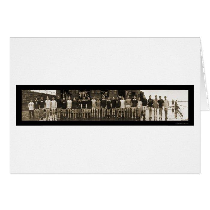 Yale Crew Team & Subs Huge Photo 1910 Greeting Card