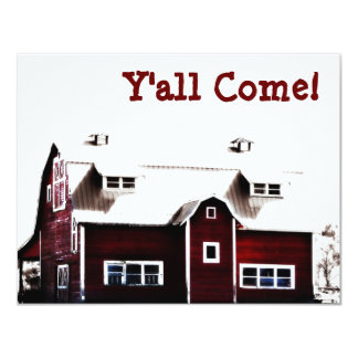 Y'all Come! Hick Country Barn Party 11 Cm X 14 Cm Invitation Card
