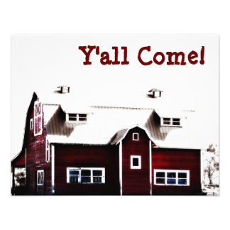 Y'all Come! Hick Country Barn Party Custom Invites