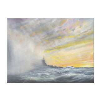 Yamato Emerges from Pacific Typhoon 1944 2010 Canvas Print