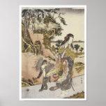 Yamauba and a Monkey, Shunsho, 1791 Poster