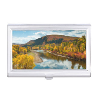 Yampa River In Autumn Business Card Holder