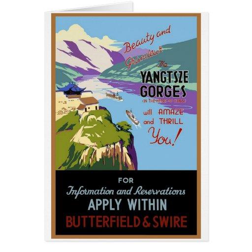Yangtsze Yangtze River Gorges Vintage Travel Art Note Card