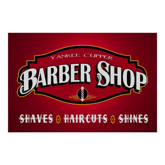 yankee clipper barber shop 36 x 24 poster. Black Bedroom Furniture Sets. Home Design Ideas
