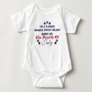YANKEE DOODLE SWEETHEART BORN ON THE FOURTH OF JUL BABY BODYSUIT
