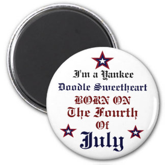 YANKEE DOODLE SWEETHEART JULY FOURTH BIRTHDAY BUTT 6 CM ROUND MAGNET