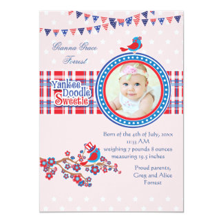 Yankee Doodle Sweetie Girl Photo Birth Announce. 13 Cm X 18 Cm Invitation Card