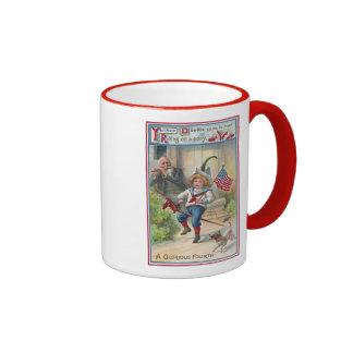 Yankee Doodle Vintage Fourth of July Ringer Mug