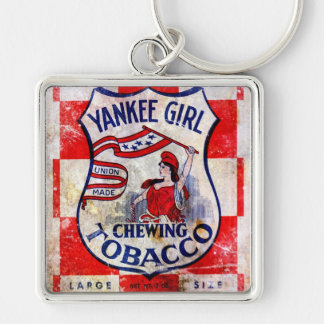 Yankee Girl Chewing Tobacco Silver-Colored Square Key Ring