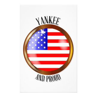 Yankee Proud Flag Button Customized Stationery