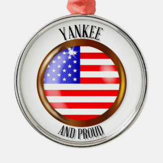 Yankee Proud Flag Button Silver-Colored Round Decoration