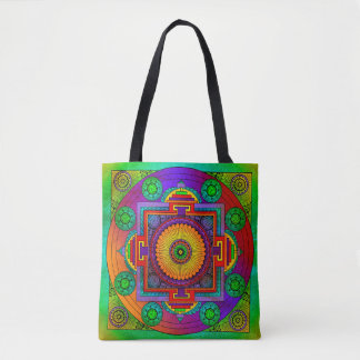 yantra the great wheel green violet tote bag