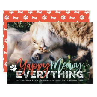 Yappy Meowy Everything Dog Cat Holiday Photo Card 13 Cm X 18 Cm Invitation Card
