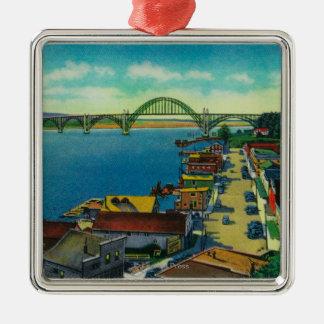 Yaquina Bay Bridge and waterfront Newport, OR Christmas Ornament