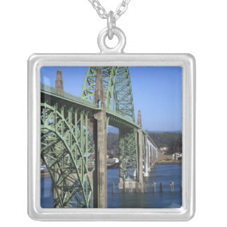 Yaquina Bay Bridge spanning the Yaquina Bay Silver Plated Necklace