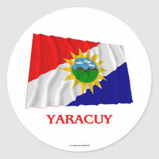 Yaracuy Waving Flag with Name Round Sticker
