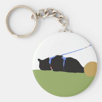 yard play cat basic round button key ring