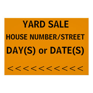 YARD SALE SIGN with left arrow Print