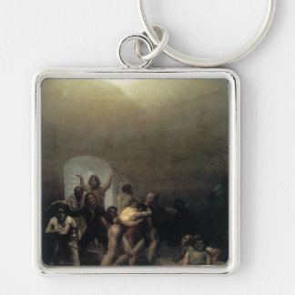 'Yard with Lunatics' Silver-Colored Square Key Ring