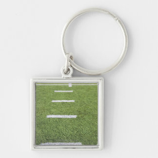 Yardlines on Football Field Silver-Colored Square Key Ring