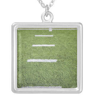 Yardlines on Football Field Silver Plated Necklace