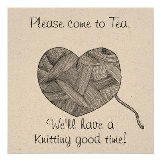 Yarn Ball Heart, Knitting and Tea, Party invites