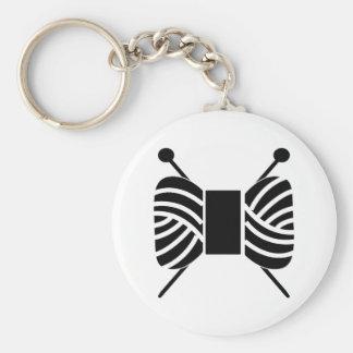 Yarn Logo Knitting Needles {Light} Basic Round Button Key Ring
