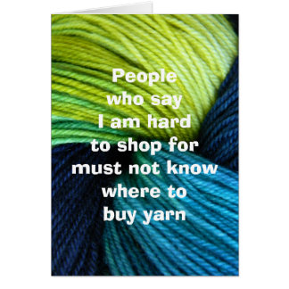 Yarn shopping, greeting card for knitters
