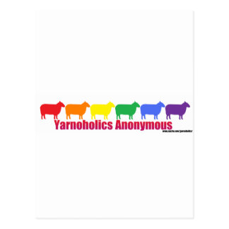 Yarnoholics Anonymous Rainbow Sheep Postcard