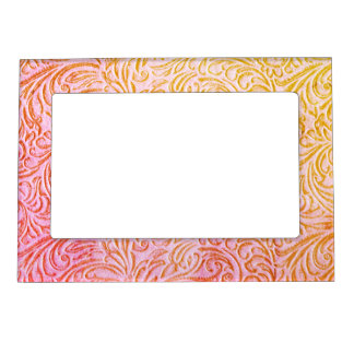 Yarrow Pink Vintage Floral Scrollwork Graphic Magnetic Picture Frame