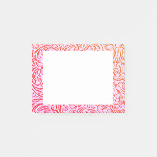Yarrow Pink Vintage Floral Scrollwork Graphic Post-it Notes